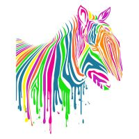 Zebra Art Neon T Shirt by Design-By-Humans