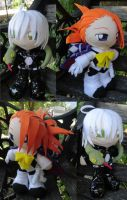 Commission, Mini Plushies Joker and Snake by LadyoftheSeireitei