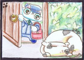 Funny cat is a postman ACEO by KingZoidLord