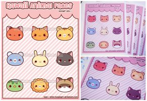 Kawaii Animal Face Sticker Set by MoogleGurl