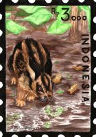 Indonesia Stamp Set - Sumatran Rabbit by Pawlove-Arts