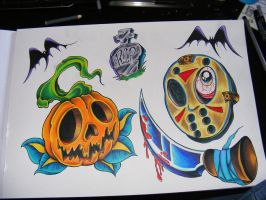 Halloween Horror Tattoo Flash by robspider