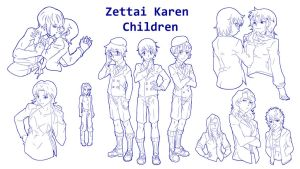 Zettai Karen Children Sketchs 02 by zadak0