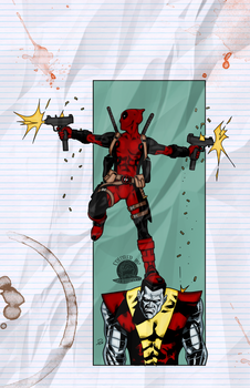 Deadpool and Colossus by Blackmoonrose13