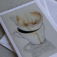 Coffee cups greeting card by fatboygotsick
