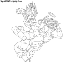Goku vs. Majin Vegeta Lineart by JamalC157
