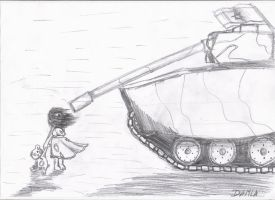 a Girl and a Tank by damlagunes