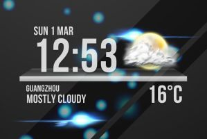 Glass Dock Clock Weather for xwidget by jimking