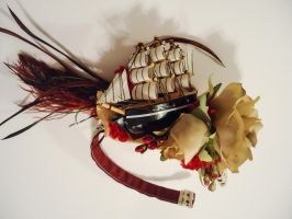Red and Black Pirate Hair Accessory by sweetmildred