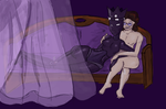 Cuddling with the black queen by Greer-The-Raven