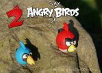 2 Angry Clay Birds Polymer Angry Birds Red Blues by DeeDeeODooDoo