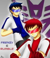 TFG1 gijinka: Frenzy+Rumble by kiku-maru
