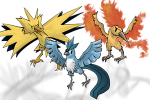 Pokemon - Articuno, Zapdos and Moltres by lotsofmudkips