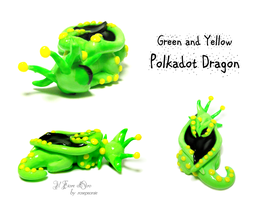 Green and yellow Polkadot dragon 2 by rosepeonie