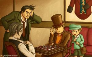 Layton VS Edgeworth: Battle of the Chessmasters by decembertiggerX