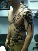 tribal body tattoo by lilmrsfrankenstein