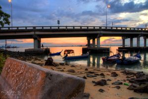 Sunrise of Penang bridge - The fishing boats 2 by fighteden