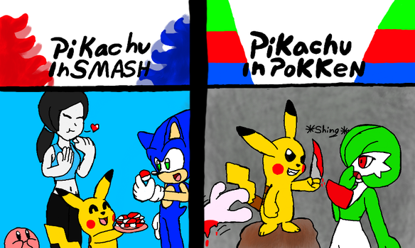 Pikachu in fighting games by Klonoahedgehog