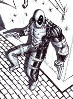 Deadpool backs against the wall by madd-sketch