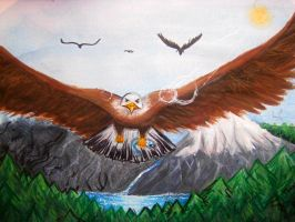 Eagle Flying over Alaska. Request for Quincy by bookwriterEXO38