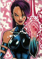 Psylocke Sketch Card by MasonEasley
