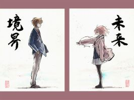 Kyoukai no Kanata 2 piece sumi and watercolor by MyCKs