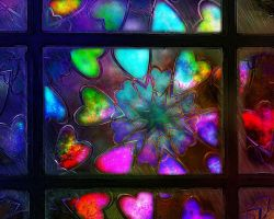 Stained Glass Hearts by rabbitica