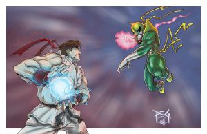 Ryu vs Ironfist commission by madmagnus