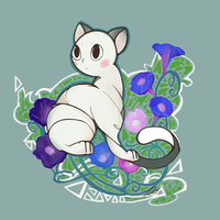 White cat lost and the Garden Morning Glor by KornXcvibeta