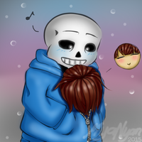 [Colored] Keep Warm - Frisk and Sans by MyaNyan
