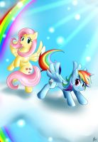 Fluttershy and Rainbow Dash by Smudgeandfrank