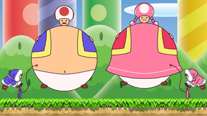 Ice Climbers inflating Toad and Toadette by ToxicIsland