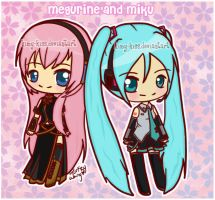 Vocaloid:Megurine and miku by kimy-kiss