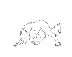 Bowing wolf line Art by sapphire-blackrose