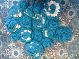 Blue Shimmer Rose Shawl (in the works by lovechairmanmeow
