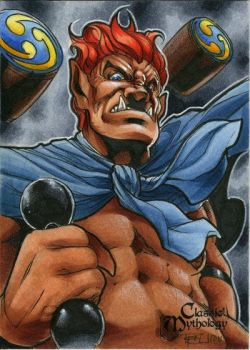 Raijin Classic Mythology Sketch Card by RichardCox