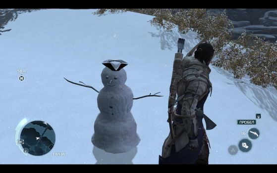 Playing in Assassin's Creed 3:Cool snowman! by MrMixser