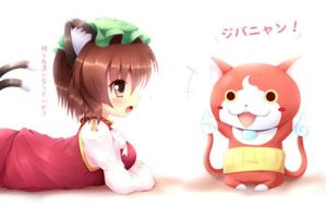 Touhou X Youkai watch - chen and jibanyan by KANE-NEKO