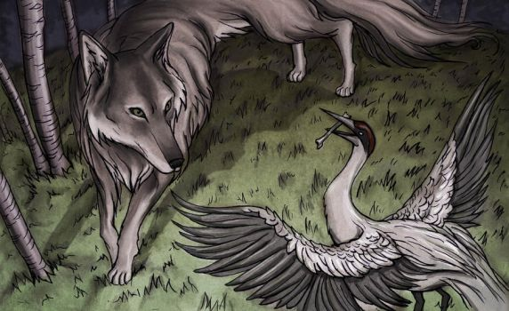 The Wolf and the Crane by Evanira
