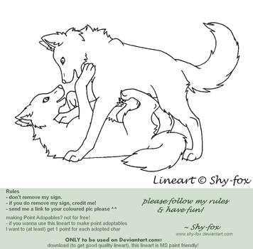 playing wolves lineart by shy-fox