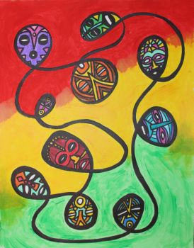 African Mask Spiral by Shamancreations