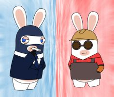 Spy and Engineer Rabbids by Gav-Imp