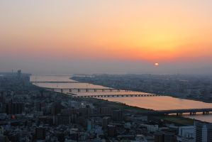 one more view- sunset over the river by rayna23