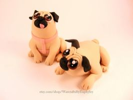 Custom Polymer Clay Pug Figurines by Euphyley