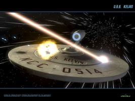 USS Kelvin at Warp under Fire by Animaniacarts