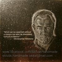 Christopher Hitchens portrait etched on granite by PeterIst