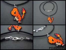 Handmade Seed Bead Charmander Necklace by Pixelosis