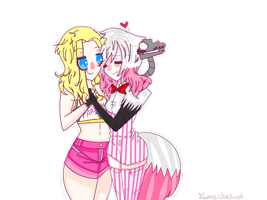 human!Mangle X Toy Chica by Luneystarbursty