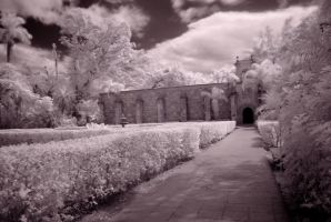 Spanish Monastery 2 of 6 BW by Solracezz