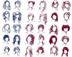 I REALLY WANTED TO DRAW SOME HAIR STYLES by Solstice-11